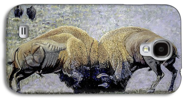 Bison Fight Original Oil Painting 60x36x1.5 Inch Galaxy S4 Case