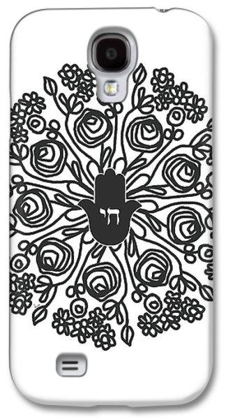 Black And White Hamsa Mandala- Art By Linda Woods Galaxy S4 Case by Linda Woods