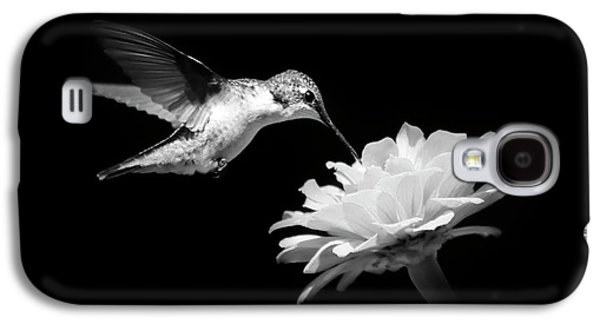 Black And White Hummingbird And Flower Galaxy S4 Case by Christina Rollo