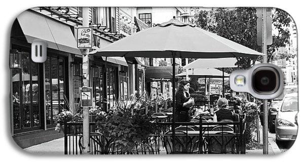 Black And White Sidewalk Cafe Galaxy S4 Case by Mary Ann Weger