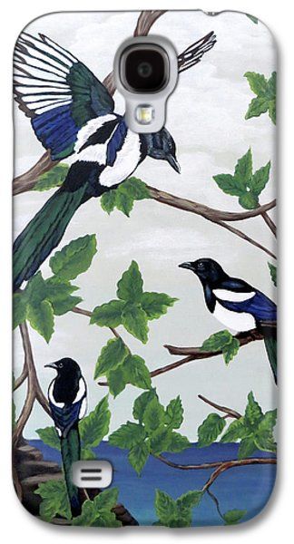 Black Billed Magpies Galaxy S4 Case