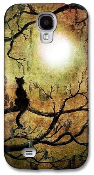 Black Cat And Full Moon Galaxy S4 Case by Laura Iverson