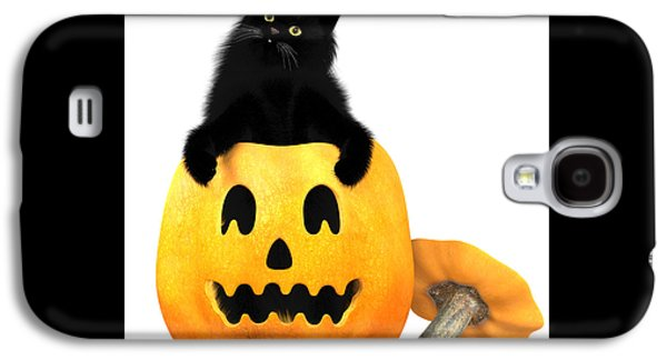 Black Cat And Halloween Galaxy S4 Case by Corey Ford