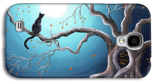 Black Cat In A Haunted Tree Galaxy S4 Case by Laura Iverson