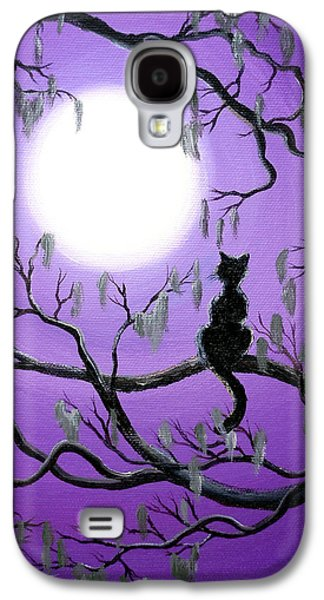 Black Cat In Mossy Tree Galaxy S4 Case by Laura Iverson