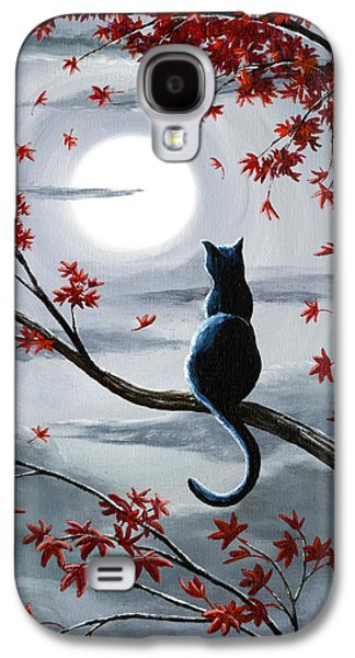 Black Cat In Silvery Moonlight Galaxy S4 Case by Laura Iverson