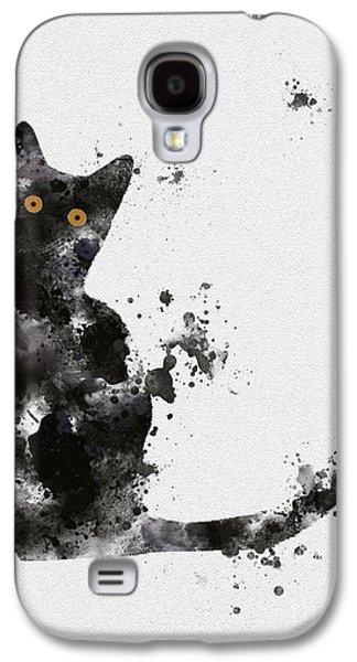 Black Cat Galaxy S4 Case by Rebecca Jenkins