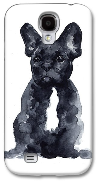 Bull Galaxy S4 Case - Black French Bulldog Watercolor Poster by Joanna Szmerdt