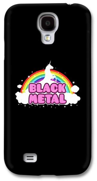 Unicorn Galaxy S4 Case - Black Metal Funny Unicorn / Rainbow Mosh Parody Design by Philipp Rietz
