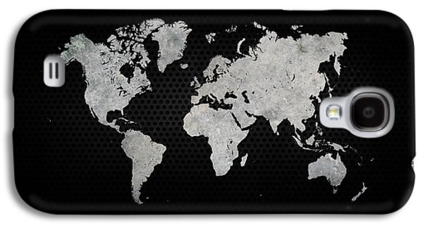 Black Metal Industrial World Map Galaxy S4 Case