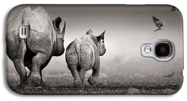 Black Rhino Cow With Calf  Galaxy S4 Case
