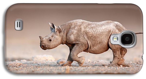 Black Rhinoceros Baby Running Galaxy S4 Case