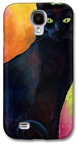 Black Watercolor Cat Painting By Galaxy S4 Case