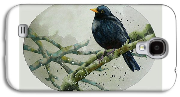 Blackbird Painting Galaxy S4 Case by Alison Fennell