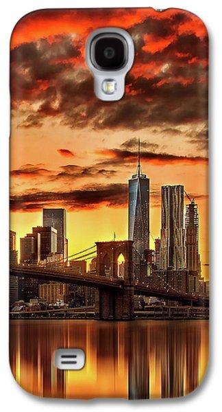 Blazing Manhattan Skyline Galaxy S4 Case by Az Jackson