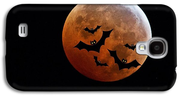 Blood Full Moon And Bats Galaxy S4 Case by Marianna Mills