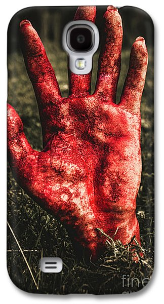 Blood Stained Hand Coming Out Of The Ground At Night Galaxy S4 Case
