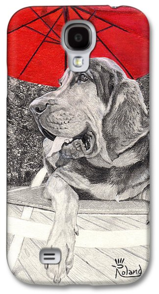 Bloodhound Under Umbrella Galaxy S4 Case by Tracy Dupuis Roland