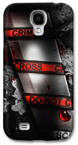 Bloody Knife Wrapped In Red Crime Scene Ribbon Galaxy S4 Case by Jorgo Photography - Wall Art Gallery