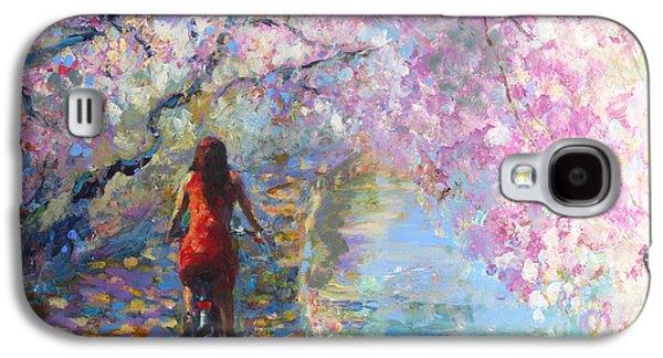 Bike Drawings Galaxy S4 Cases - Blossom Alley Impressionistic painting Galaxy S4 Case by Svetlana Novikova
