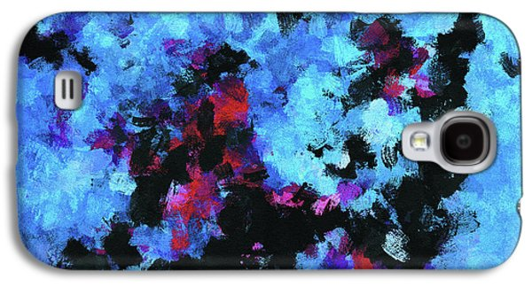 Blue And Black Abstract Wall Art Galaxy S4 Case by Ayse Deniz