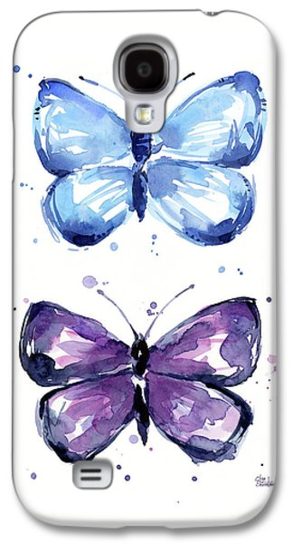 Blue And Purple Watercolor Butterflies Galaxy S4 Case