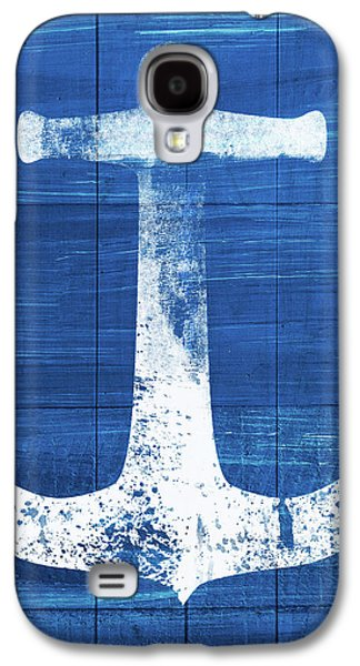 Blue And White Anchor- Art By Linda Woods Galaxy S4 Case by Linda Woods