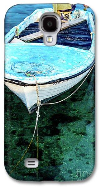 Blue And White Fishing Boat On The Adriatic - Rovinj, Croatia Galaxy S4 Case