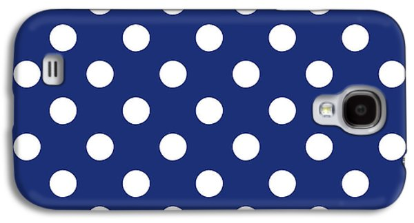 Blue And White Polka Dots- Art By Linda Woods Galaxy S4 Case by Linda Woods