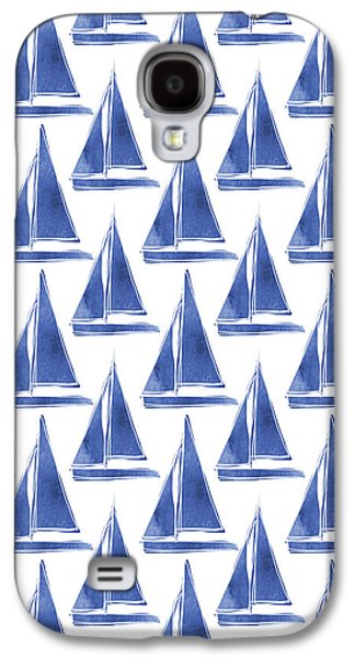 Boat Galaxy S4 Case - Blue And White Sailboats Pattern- Art By Linda Woods by Linda Woods