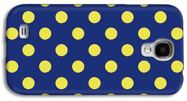 Blue And Yellow Polka Dots- Art By Linda Woods Galaxy S4 Case by Linda Woods