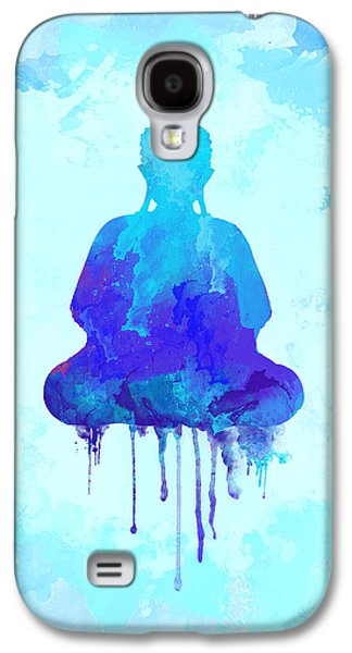 Blue Buddha Watercolor Painting Galaxy S4 Case by Thubakabra