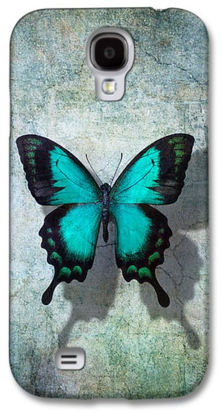 Blue Butterfly Resting Galaxy S4 Case