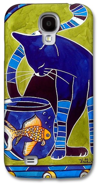 Galaxy S4 Case featuring the painting Blue Cat With Goldfish by Dora Hathazi Mendes