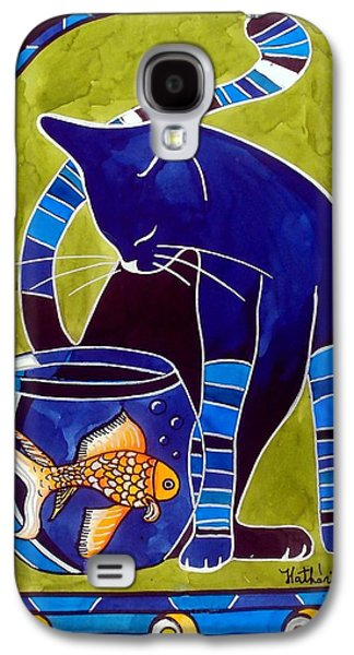 Blue Cat With Goldfish Galaxy S4 Case by Dora Hathazi Mendes