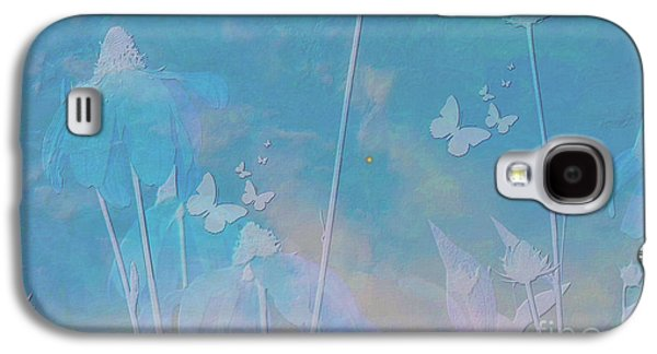 Blue Daisies And Butterflies Galaxy S4 Case