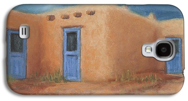 Taos Galaxy S4 Cases - Blue Doors in Taos Galaxy S4 Case by Jerry McElroy