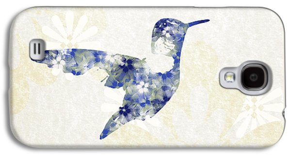 Blue Floral Hummingbird Art Galaxy S4 Case