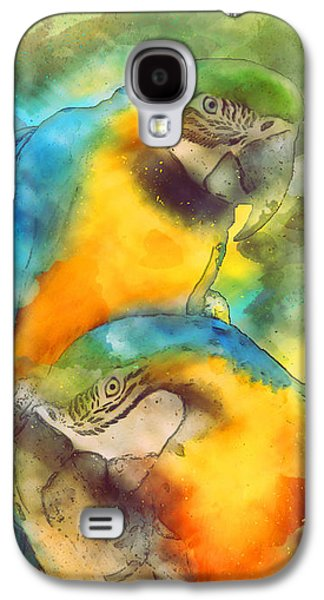 Blue N Gold Macaws Galaxy S4 Case by Methune Hively