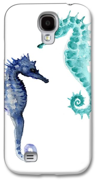 Blue Seahorses Watercolor Painting Galaxy S4 Case by Joanna Szmerdt