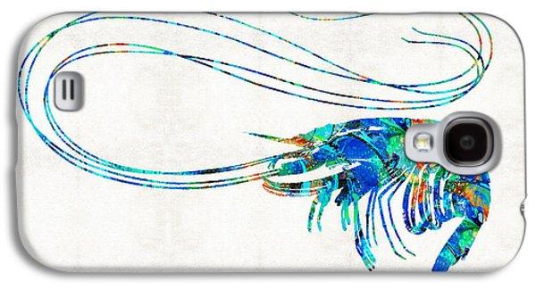 Blue Shrimp Art By Sharon Cummings Galaxy S4 Case by Sharon Cummings