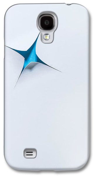 Blue Star On White Galaxy S4 Case by Scott Norris