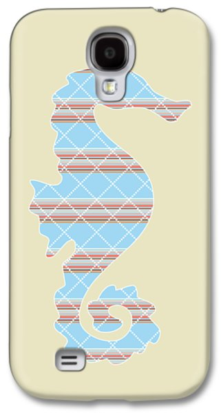 Blue Stripe Pattern Aged Galaxy S4 Case by Christina Rollo