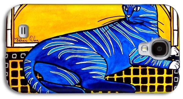 Blue Tabby - Cat Art By Dora Hathazi Mendes Galaxy S4 Case