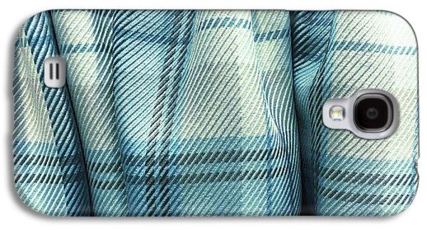 Blue Tartan Fabric Galaxy S4 Case by Tom Gowanlock