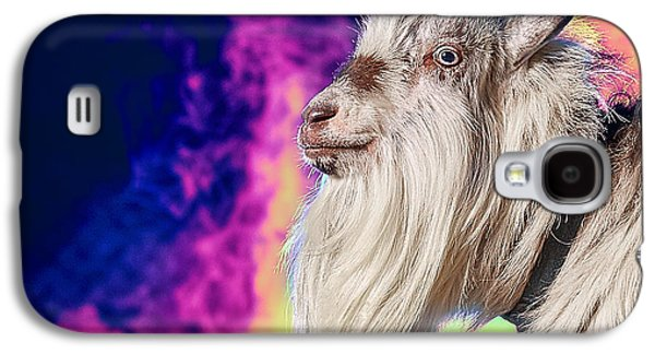 Blue The Goat In Fog Galaxy S4 Case by TC Morgan