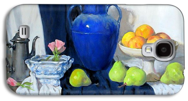 Blue Vase, Peaches, Pears, Lisianthus, Silver Coffeepot Galaxy S4 Case