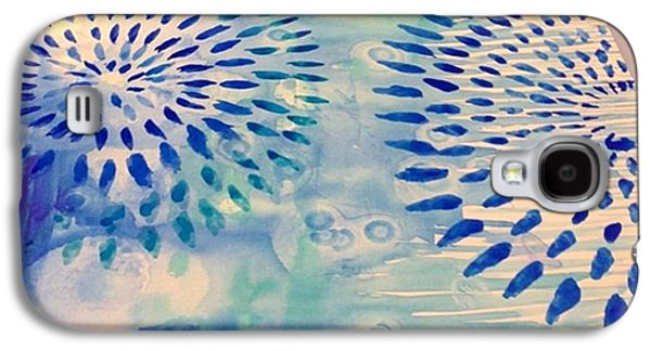 Blue Galaxy S4 Case - #blue Watercolor And #alcoholdrops Give by Robin Mead