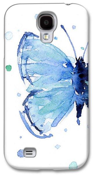 Blue Watercolor Butterfly Galaxy S4 Case by Olga Shvartsur
