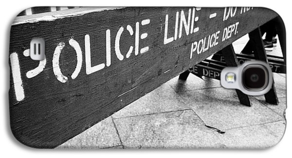 blue wooden police line do not cross nypd crowd traffic barrier New York City USA Galaxy S4 Case